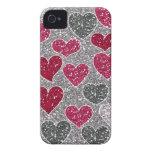 Corazones felices de Bling del amor del brillo del iPhone 4 Case-Mate Carcasa