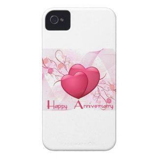 Corazones felices del aniversario Case-Mate iPhone 4 carcasas