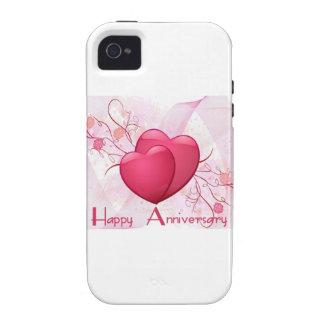 Corazones felices del aniversario vibe iPhone 4 carcasas