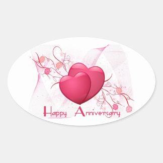 Corazones felices del aniversario calcomania de ovaladas
