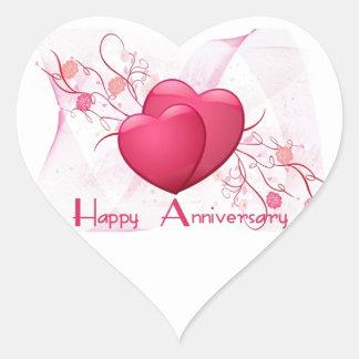 Corazones felices del aniversario pegatina en forma de corazón