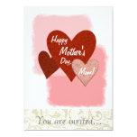 Corazones felices del día de madre tres agrietados invitación 12,7 x 17,8 cm