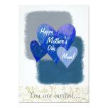 Corazones felices del día de madre tres azules invitación 12,7 x 17,8 cm