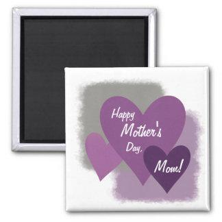 Corazones felices del día de madre tres púrpuras imán cuadrado