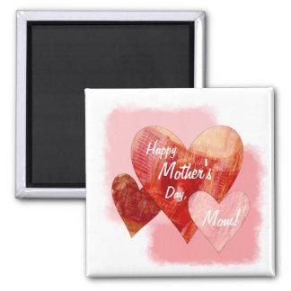 Corazones felices del día de madre tres texturizad imán cuadrado