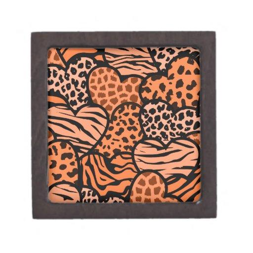 Corazones femeninos anaranjados y negros del estam caja de recuerdo de calidad