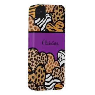 Corazones femeninos púrpuras del estampado de carcasa para iPhone 4