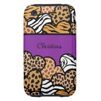 Corazones femeninos púrpuras del estampado de carcasa though para iPhone 3