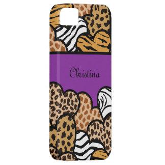 Corazones femeninos púrpuras del estampado de funda para iPhone SE/5/5s