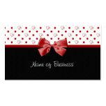 Corazones femeninos y cinta del rojo de los lunare tarjetas de negocios