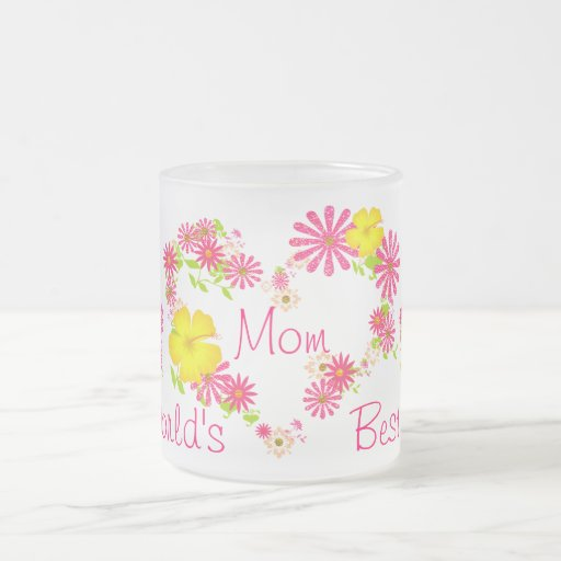 Corazones florales de la mejor mamá del mundo taza de cristal