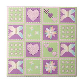 Corazones, flores y mariposas lindos tejas  cerámicas