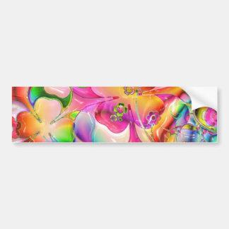 Corazones, flores y tréboles en colores pastel en  pegatina para auto