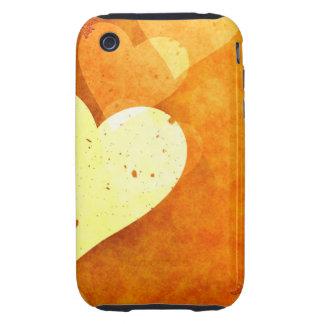 Corazones flotantes anaranjados y amarillos iPhone 3 tough coberturas