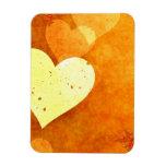 Corazones flotantes anaranjados y amarillos iman flexible
