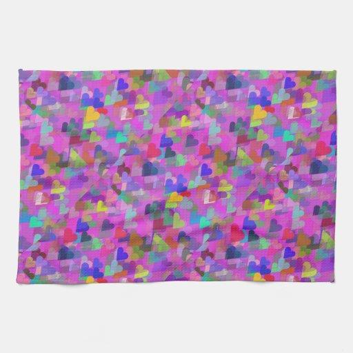 Corazones flotantes del arco iris toallas de cocina