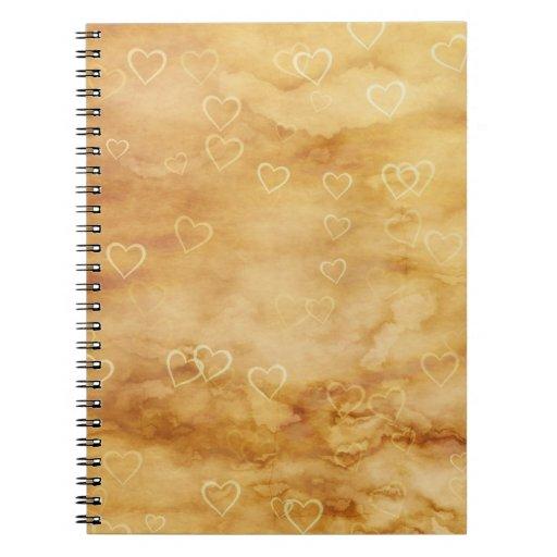 Corazones flotantes en fondo Antiqued Cuadernos