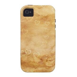 Corazones flotantes en fondo Antiqued Case-Mate iPhone 4 Fundas