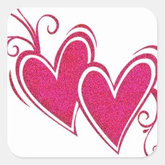 Corazones flotantes rosados pegatina cuadrada
