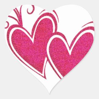 Corazones flotantes rosados pegatina en forma de corazón