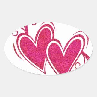Corazones flotantes rosados pegatina ovalada