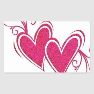Corazones flotantes rosados pegatina rectangular