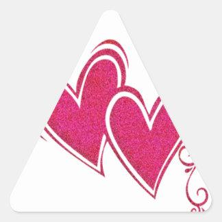 Corazones flotantes rosados pegatina triangular