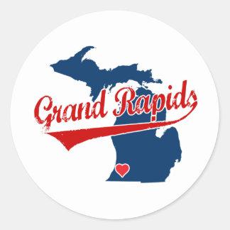 Corazones Grand Rapids Michigan Etiquetas Redondas
