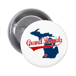 Corazones Grand Rapids Michigan Pin Redondo De 2 Pulgadas