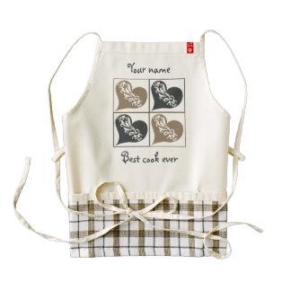Corazones grises del moreno personalizados delantal zazzle HEART