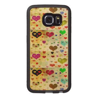 Corazones-Grunged Funda De Madera Para Samsung Galaxy S6 Edge