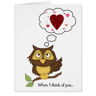 Corazones Humor-Lindos del búho de la tarjeta del