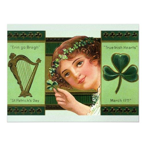 Corazones irlandeses verdaderos invitación 16,5 x 22,2 cm