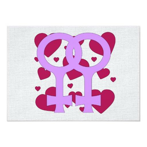 """Corazones lesbianos de la boda invitación 5"""" x 7"""""""