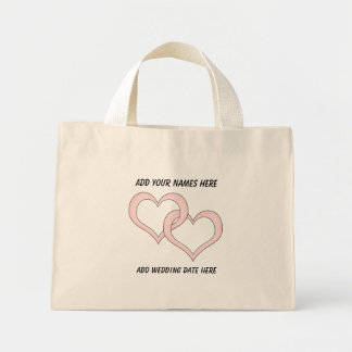 Corazones ligados personalizados que casan la bolsa tela pequeña