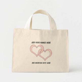 Corazones ligados personalizados que casan la bolsa de mano