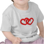 corazones ligados rojo tridimensional camiseta