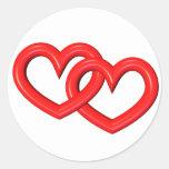 corazones ligados rojo tridimensional pegatina redonda