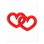 corazones ligados rojo tridimensional postal