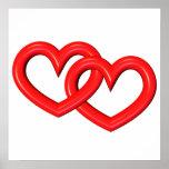 corazones ligados rojo tridimensional posters