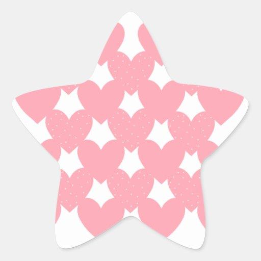 Corazones ligados rosa pegatina en forma de estrella