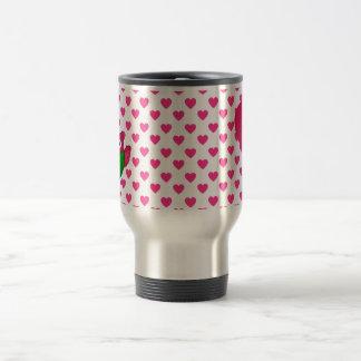 Corazones lindos conocidos de encargo del rosa del taza de café