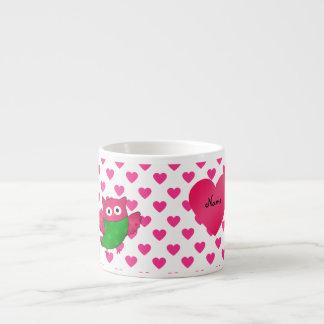 Corazones lindos conocidos de encargo del rosa del taza espresso