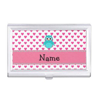 Corazones lindos conocidos personalizados del rosa cajas de tarjetas de presentación