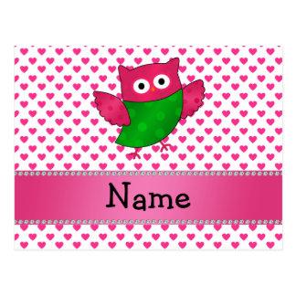 Corazones lindos conocidos personalizados del rosa postal