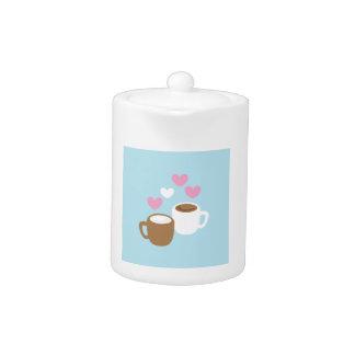 Corazones lindos del amor del café y del chocolate
