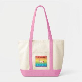 Corazones lindos del arco iris del unicornio bolsas de mano