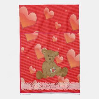 Corazones lindos del rojo del oso de peluche de Br Toallas De Mano