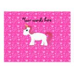 Corazones lindos del rosa del unicornio tarjeta postal