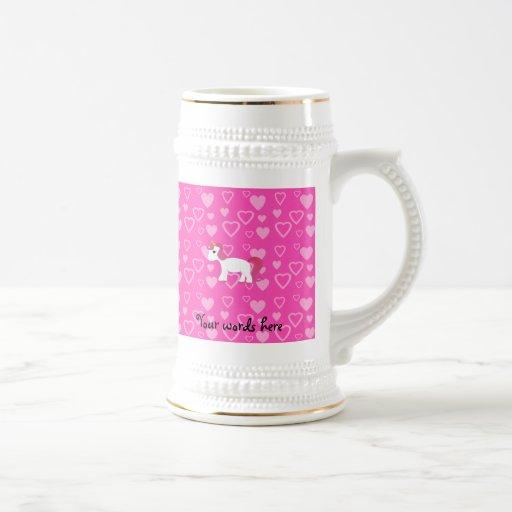 Corazones lindos del rosa del unicornio jarra de cerveza